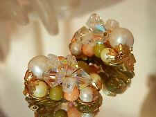 Pretty Pink Beaded Cluster Vintage 50's Japan Clip Earrings 92F7