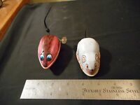 2 Vintage Tin metal toy mice wind up / push mouse