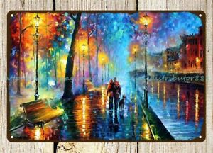 modern impressionistic paintings street at night metal tin sign