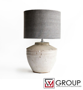 PRICE DROP! Table Lamp TOBA Concrete Industrial Stone Design White Gray
