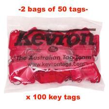 KEVRON KID-5 2 Bags Of 50 RED Plastic Click Key Tags 100 TAGS -FREE POST ID5