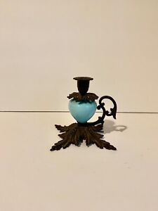 Blue Opaline Glass Candle Holder with Metal Frame/Handle