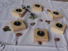 2 Teelichthalter Holz Zirbe Glas Zirbenduft Kerze Weihnachten Kerzenständer