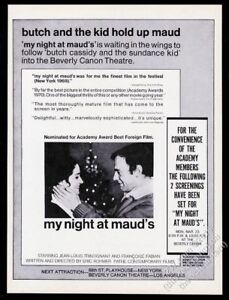 1970 My Night At Maud's movie Jean-Louis Trintignant Francoise Fabian photo ad