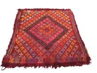 Afghan Kilim Rug Wool Vintage Tribal HandKnotted Area Carpet Handmade 3x3