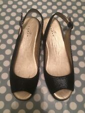 Lunar Peep Toe Black Sling Back Sandals, Size 5