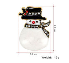 White Enamel snowman Brooch Christmas Costume Jewellery Gift