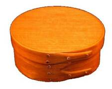 Size #0 Shaker Round Box With Cherry Bands and Cherry Top, Lacquer Finish