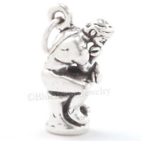 THE THINKER Charm Pendant Rodin Paris statue Travel STERLING SILVER 925 3D