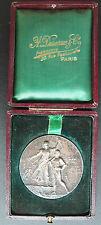 Turn-Medaille + Etui v. Olympia-Designer Felix Rasumny Art Nouveau ~1900 Turnen