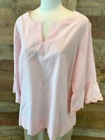 New~$52~PRESWICK & MOORE Women 1X Plus Pink/White-Stripe 3/4-Sleeve Top Blouse
