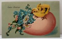 Easter Greetings Embossed Chick Egg of Flowers to Marshfield Vermont Postcard A5