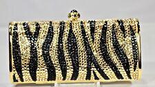 Crystallized Evening Bag Tiger Stripes Animal Print Flat with Swarovski Crystals