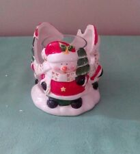 CHRISTMAS SNOWMAN Circle of Friends CANDLE HOLDER - CERAMIC VOTIVE HOLDER