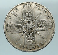 1923 United Kingdom Great Britain GEORGE V Silver Florin 2 Shillings Coin i84584