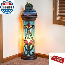 Pedestal Floor Lamp Tiffany Style Baroque Column Stained Glass Victorian Lit