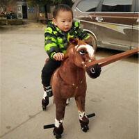 32'' Horse Plush Toy Wheels Stuffed Animal Moving Ride On Horse Doll Kids Gift #