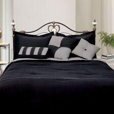 LCM Home Fashions Microfiber Comforter Set, Full, Black/Gray