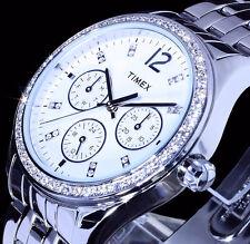 Timex Damen Uhr Armbanduhr Edelstahl Silber Farben Weiß Datumsanzeige Strass