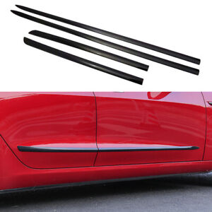 Carbon Fiber Door Body Side Molding Cover Trim Frame For Tesla Model 3 2017-2019