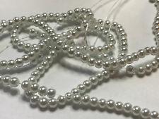 Glaswachsperlen Perlen weiß glänzend 4 mm 210 Stück Schmuck Basteln H3141