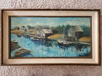 "Sue Etem Rare Original Oil Painting Seascape, Signed, Framed, 28"" x 18"" 12 x 24"
