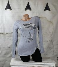 Damen Biker Totenkopf skull strass camouflage Langarmshirt  shirt  grau L/XL