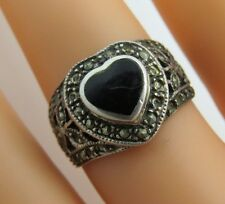 Genuine Heart  Onyx & Marcasite Sterling Silver 925 Size 8 Ring 4.4 gr - H1609