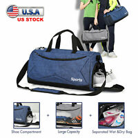 Wet & Dry Gym Bag w/ Shoe Compartment Duffle Carry On Handbag Shoulder Luggage
