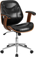 Mid-Back Black Leather Soft Executive Ergonomic Wood Swivel Office Chair with...