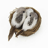 1 Set Artificial Feathered Birds with Hay Nest Birds Egg Ornaments Home Decor