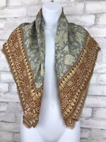 "Vintage Oscar De La Renta Scarf Gray Brown Gold Thread Floral Fringe 35x35"""
