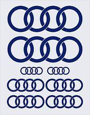 Conjunto completo de 8 piezas: Audi Anillos Adhesivos calcomanías en Brillo Color Azul Cobalto