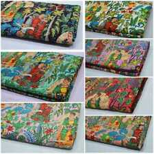 New Screen Print Handmade Indian Kantha Quilt Bedspread Cotton Blanket Coverlets