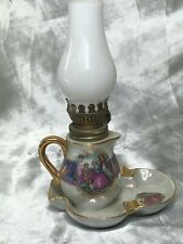 Vintage Beautiful French Porcelain Ceramic Oil Lamp Wick Lighting