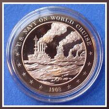 1908 Great White Fleet: U.S. Navy on World Cruise - Solid Bronze Medal