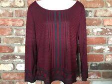 Max Studio M Top Womens Medium Abstract Print Pullover Knit Top Long Sleeve