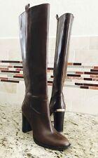 NEW MK Michael Kors Regina Brown Leather Knee High Boot Chunk Heel 6.5