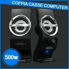 CASSE AUDIO PC COMPUTER USB NOTEBOOK ALTOPARLANTI 500 WATT STEREO IPOD MP3 MP4
