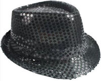GIRL SMALL Fedora Hat BLACK Sequin Shiny Cap Costume CHRISTMAS Dance Party KIDS