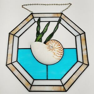 """3D Stained Leaded Glass Nautilus Shell Wall Pocket Hanging Decor 16"""" Suncatcher"""
