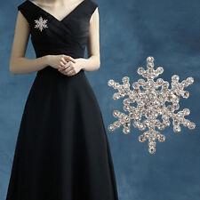 Women Silver Rhinestone Crystal Snowflake Brooch Pin Wedding Bridal  Xmas Gift