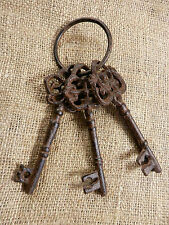 Set of rustic CAST IRON KEYS on ring Jail Skeleton Antique Vintage style 3 key