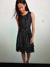 JCREW Metallic textured-dot dress $188 navy blue gold flecks size 00