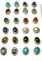 Handmade 925 Sterling Silver Stud Ear Rings with Real Oval Gemstones & Detailing