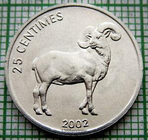 CONGO DEMOCRATIC REPUBLIC 2002 25 CENTIMES, RAM, ALUMINIUM UNC