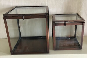 A PAIR OF IKEA GLASS CUBES / BOXES / DISPLAY