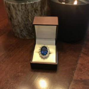 3.48 Carat Genuine Diamond Blue Sapphire Ring 14K Solid White Gold Size 5 6 7 8