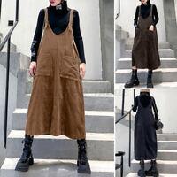Women Casual Loose Sleeveless V Neck Corduroy Dress Ladies Vintage Baggy Dresses