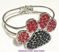 Paw Print Red Black Rhinestone Bangle Bracelet Dog Cat Silver-tone Hinged